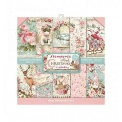 PAPEL STAMPERIA PINK CHRISTMAS 20.3 cm x 20.3 cm (10 hojas)